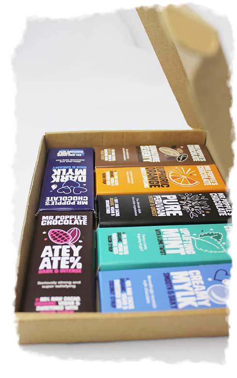 A box of Mr Popple's organic vegan chocolate bars