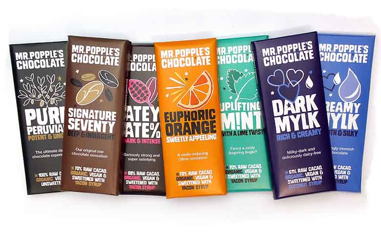 Group of seven Mr Popple's Chocolate bars