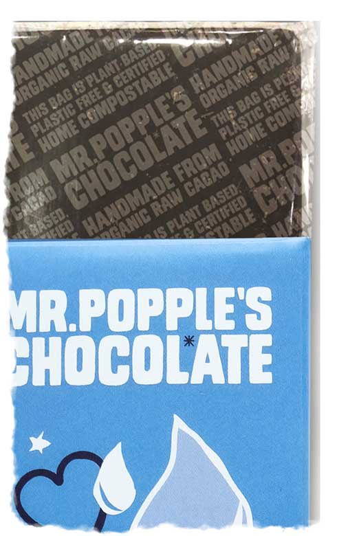 Mr Popple's Chocolate Compostable plastic free packaging up close